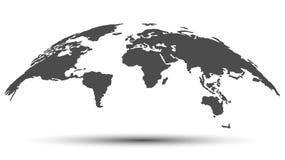 Mapa monocromático del globo 3D en gris oscuro Ilustración del Vector