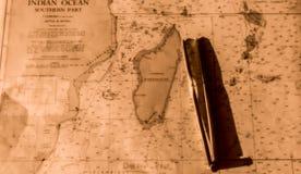 Mapa náutico do Oceano Índico Foto de Stock