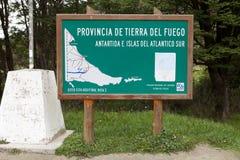 Mapa na baía de Lapataia ao longo da fuga litoral em Tierra del Fuego National Park, Argentina fotografia de stock royalty free