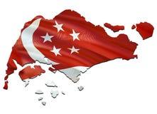 Mapa na bandeira de ondulação de Singapura 3D que rende o mapa de Singapura e que acena a bandeira no mapa de Ásia O símbolo naci ilustração do vetor