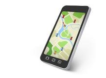 Mapa na smartphone ekranie Obrazy Stock
