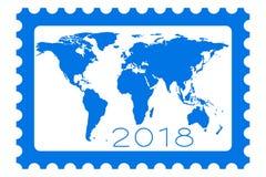Mapa na znaczka 2018 literowaniu Fotografia Royalty Free