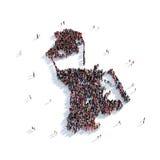 Mapa Nacau de la forma del grupo de la gente Stock de ilustración