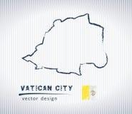 Mapa nacional del dibujo del vector de la Ciudad del Vaticano en el fondo blanco Foto de archivo libre de regalías