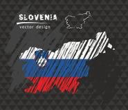 Mapa nacional del vector de Eslovenia con la bandera de la tiza del bosquejo Ejemplo dibujado mano de la tiza del bosquejo Foto de archivo