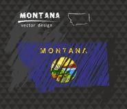 Mapa nacional del vector de Montana con la bandera de la tiza del bosquejo Ejemplo dibujado mano de la tiza del bosquejo Imagen de archivo libre de regalías