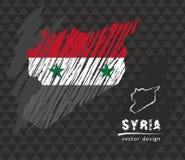 Mapa nacional del vector de Siria con la bandera de la tiza del bosquejo Ejemplo dibujado mano de la tiza del bosquejo Fotos de archivo