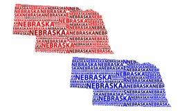 Mapa Nebraska - wektorowa ilustracja Zdjęcie Stock
