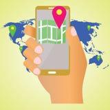 Mapa no móbil Imagens de Stock Royalty Free