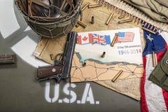Mapa Normandy umieszczał na kapiszonie pojazd wojskowy Zdjęcia Royalty Free