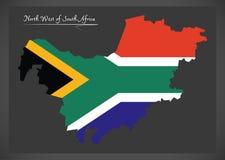Mapa noroeste de África do Sul com bandeira nacional Foto de Stock Royalty Free