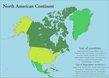Mapa norte-americano do continente Imagens de Stock Royalty Free