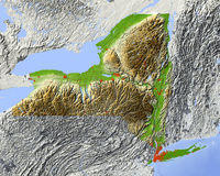 mapa nowego Jorku stan ulga Obrazy Royalty Free