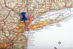 Mapa Nowy Jork w usa z pushpin Zdjęcie Royalty Free