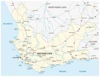 Mapa ocidental do vetor da estrada da província de cabo de África do Sul imagens de stock royalty free