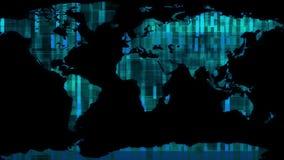Mapa olográfico de la tierra de la exhibición con colorido animado dinámico del fondo del bloque de datos del nuevo movimiento un