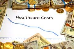 Mapa opieka zdrowotna spada puszek z pieniądze i złotem Obrazy Stock