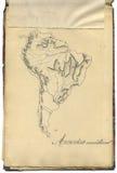 Mapa original do vintage de Ámérica do Sul Imagens de Stock Royalty Free