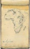 Mapa original do vintage de África Foto de Stock