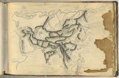 Mapa original do vintage de Ásia Imagem de Stock