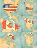 Mapa Północna Ameryka usa, Kanada i Greenland -, Fotografia Royalty Free