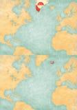 Mapa północny atlantyk - Greenland i Iceland ilustracji