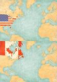 Mapa północny atlantyk - Stany Zjednoczone i Kanada royalty ilustracja