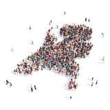 Mapa Países Bajos de la forma del grupo de la gente Stock de ilustración