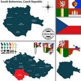 Mapa para o sul do Bohemian, República Checa Fotografia de Stock Royalty Free