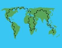 Mapa - paseo en todo el mundo Foto de archivo libre de regalías