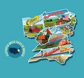 Mapa pictórico ilustrado do Estados Unidos oriental ilustração stock