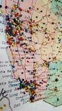 Mapa Pin Board de California imagen de archivo libre de regalías