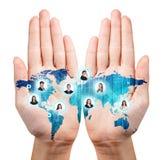 Mapa pintado nas mãos abertas Imagens de Stock Royalty Free
