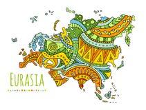Mapa pintado vetor de Eurasia Continente da garatuja do vetor ilustração royalty free