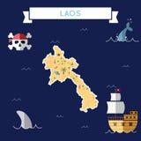 Mapa plano del tesoro del ` s de Lao People Democratic stock de ilustración
