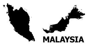Mapa plano del vector de Malasia con el subtítulo stock de ilustración
