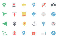 Mapa plano e iconos coloreados navegación 1 Imágenes de archivo libres de regalías