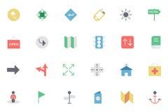 Mapa plano e iconos coloreados navegación 5 Imagenes de archivo