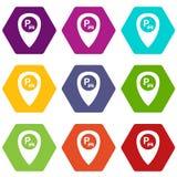 Mapa pointer z samochodowej parking ikony koloru ustalonym sześciobokiem ilustracji