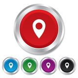 Mapa pointeru ikona. GPS lokaci symbol. Obrazy Stock