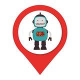 Mapa pointeru sylwetka z robotem inside Zdjęcie Royalty Free