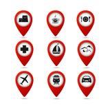 Mapa pointery z podróży ikonami royalty ilustracja