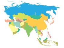 Mapa político Asia Fotografía de archivo libre de regalías
