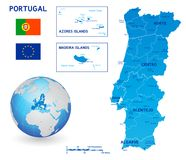 Mapa político azul del vector de Portugal stock de ilustración