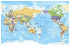 Mapa político centrado pacífico del mundo stock de ilustración