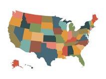 Mapa político colorido de los E.E.U.U. Foto de archivo