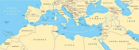 Mapa político da bacia mediterrânea Imagem de Stock Royalty Free