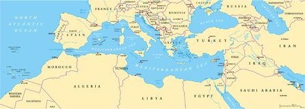 Mapa político da bacia mediterrânea ilustração royalty free