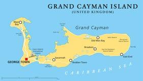 Mapa político da ilha de Grande Caimão Imagem de Stock Royalty Free