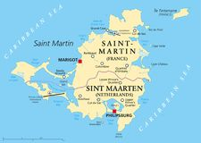 Mapa político da ilha de St Martin Foto de Stock Royalty Free